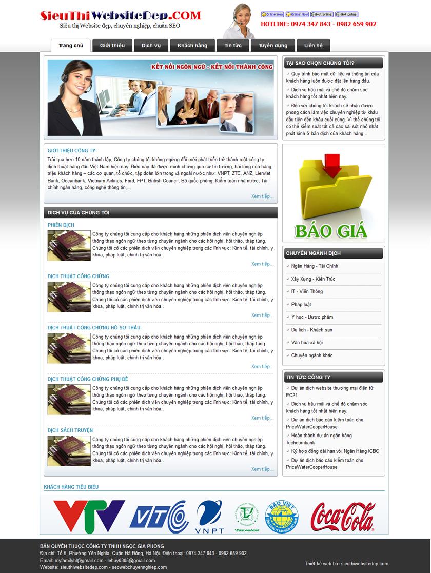 Thiết kế website Dịch thuật - Công chứng