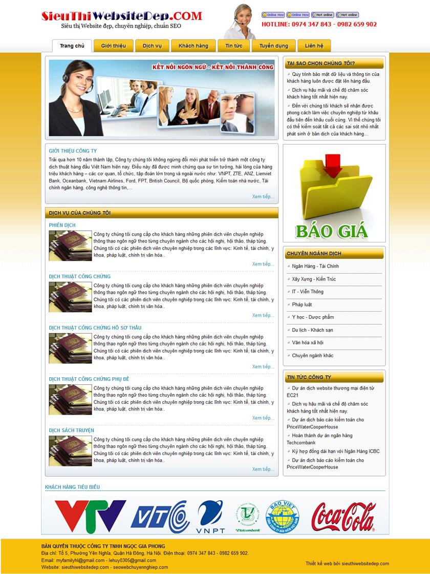 Thiết kế web dịch thuật công chứng - Mẫu 4