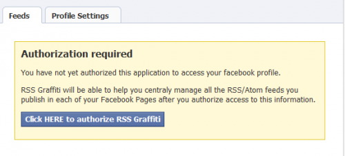 Facebook RSS Authorize